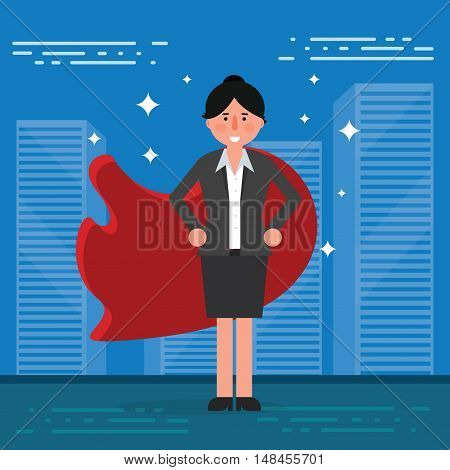Successful businesswoman or broker in suit and red cape on city background. Vector superhero illustration as concept of corporate leadership or success. Business lady leader