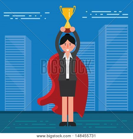 Successful businesswoman or broker in suit and red cape with golden cup on city skyline background. Vector illustration of business lady superhero as concept of success or leadership