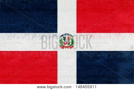 Illustration of the flag of the Dominican Republic with a grunge look