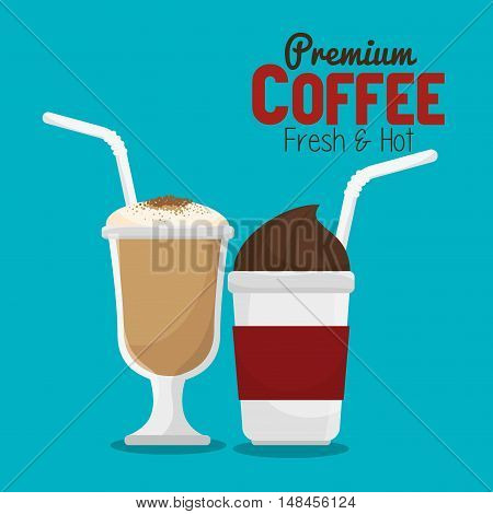 coffee cup glass and plastic with straw graphic vector illustration eps 10