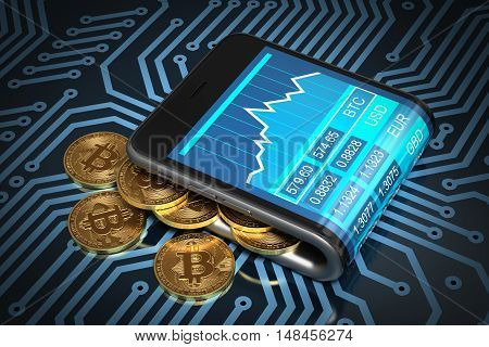 Concept Of Digital Wallet And Gold Bitcoins On Printed Circuit Board. Bitcoins Spill Out Of The Curved Smartphone. 3D Illustration.
