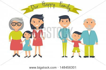 Happy family illustration. Father, mother, grandparents, son and daughter portrait with banner. Two groups of people - male and female isolated on white.