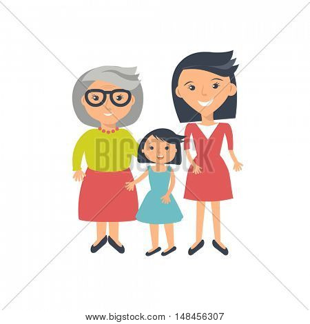 Illustration of three ages of women from child to senior. Three womans - mother, daugther and grandmother isolated on white