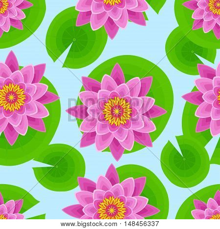 Beautiful nature seamless pattern with pink lotus and leaves. Floral bright background with stylized waterlily flower. Trendy stylish wallpaper. Vector illustration