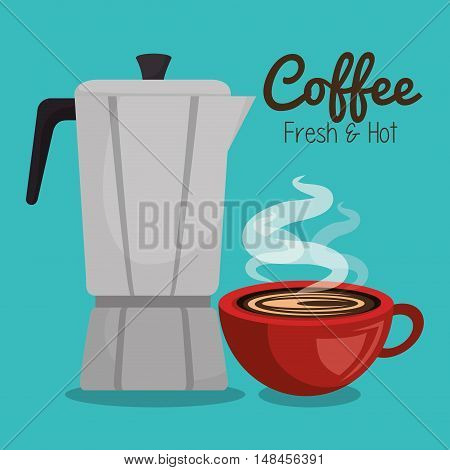 coffee maker vintage and cup red hot graphic vector illustration eps 10