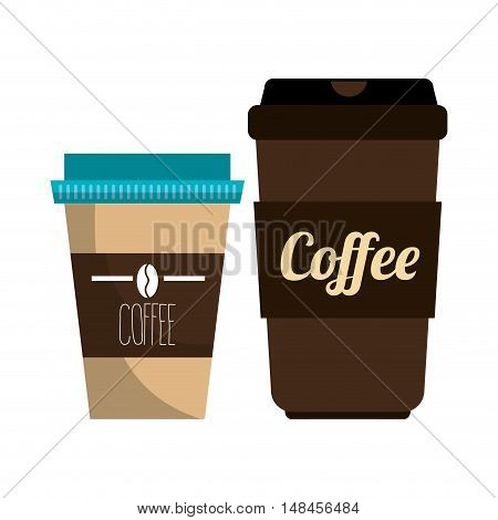 coffee plastic portable container graphic vector illustration eps 10