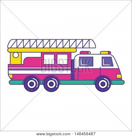Fire Truck Icon In Trendy Flat Line Style. Bright Firefighting Vehicle Symbol. Fire Engine Symbol. V