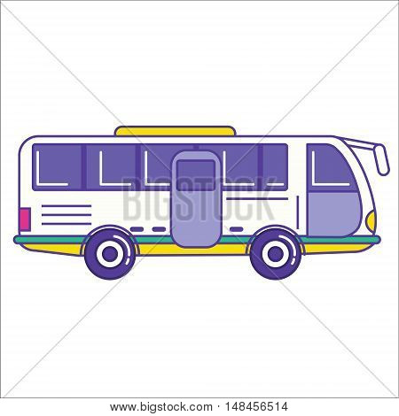 City Bus Icon In Trendy Cartoon Flat Line Style. Mass Transit Vehicle Symbol. Autobus As Public Tran
