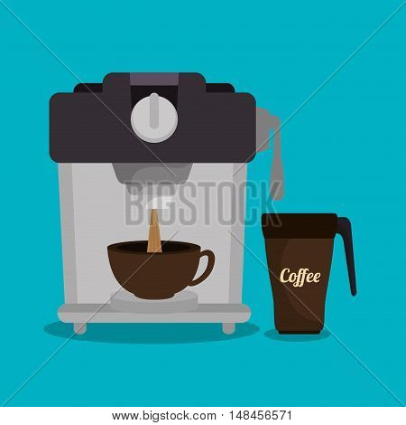 coffee maker machine and cup graphic vector illustration eps 10