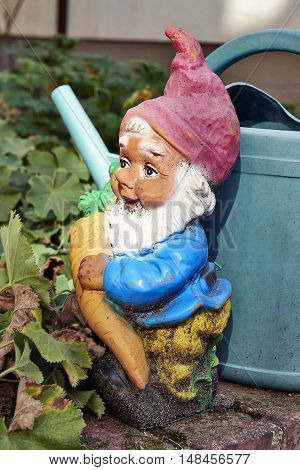 Close-up of garden gnome holding carrot and watering can