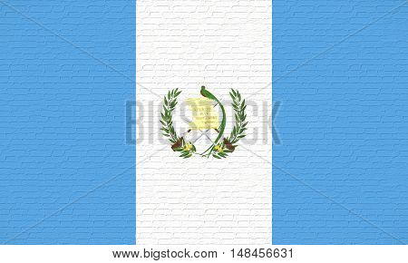 Illustration of the flag of Guatemala looking like it has been painted onto a brick wall
