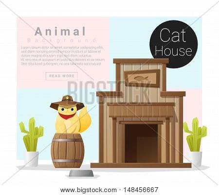 Cute animal collection Cat house , vector , illustration