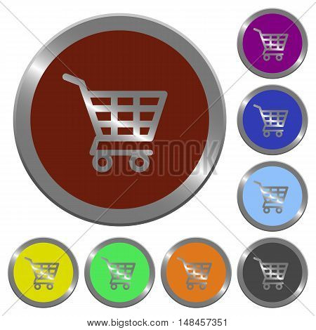 Set of color glossy coin-like shopping cart buttons