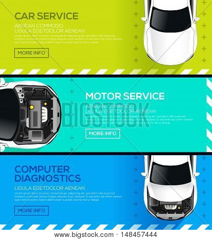 Car service banners. Car repair and computer diagnostics auto. vector illustration