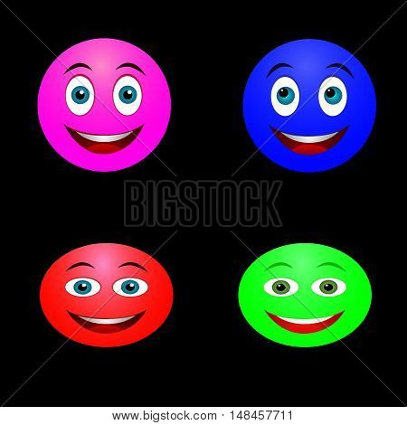 Abstract colored smileys to the Internet on a black background.