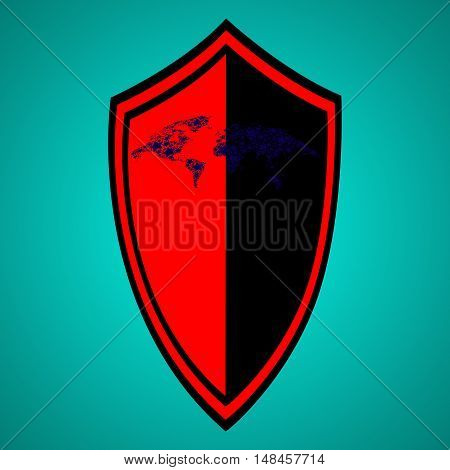 Abstract shield in the background. The shield icon.