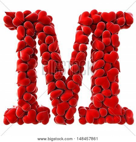 Alphabet made from red hearts. isolated on white. 3D illustration.