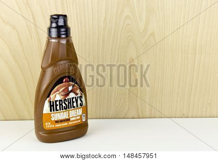 Spencer Wisconsin - September 22 2016 Bottle of Hershey's Sundae Dream syrup Hershey's is the largest chocolate manufacturer in North America