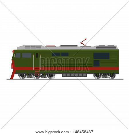Side view of a heavy freight train. Isolated on white. Vector illustration