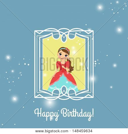 Happy Birthday blue and yellow greeting card with fairy princess. Vector illustration
