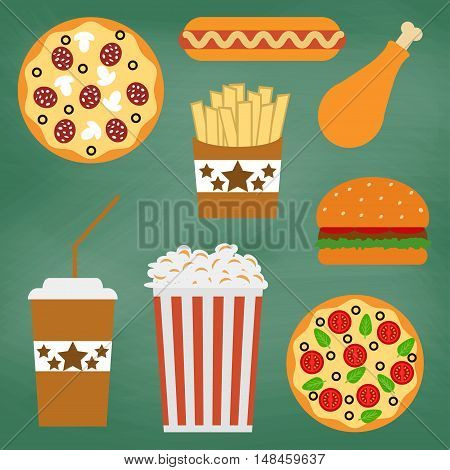 Set of fast food icons. Vector illustration