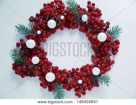 Viburnum On A Wooden Background