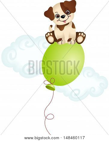 Scalable vectorial image representing a dog sitting on top balloon, isolated on white.