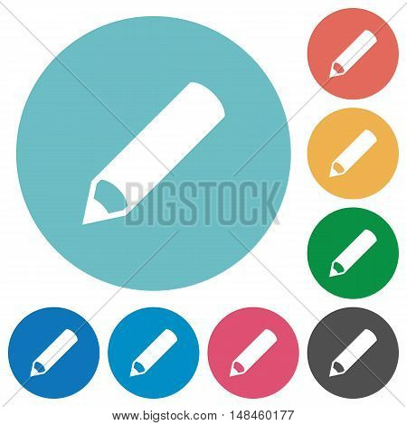 Flat pencil icon set on round color background.