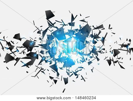 Abstract black explosion, Geometric background, Vector illustration
