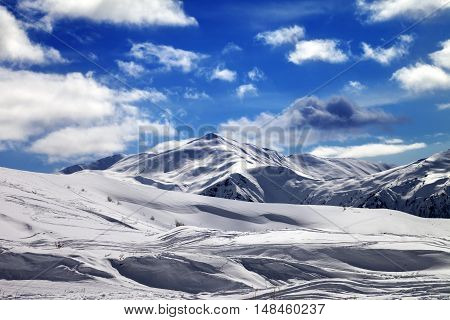 Ski Slope And Beautiful Sky With Clouds In Sun Evening