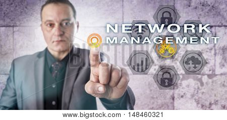 Hard-edged corporate information manager is looking after NETWORK MANAGEMENT onscreen. Information technology and cybersecurity concept for computer network performance management and administration.
