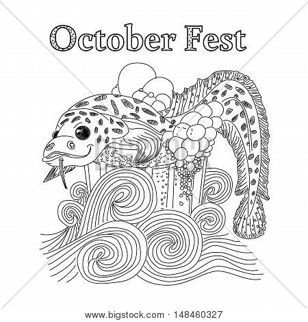 Fish in a glass of beer. Hand drawn vector illustration. October fest
