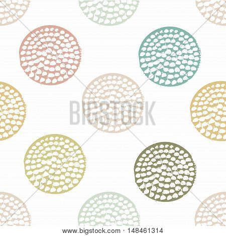 Blue, green geometric seamless pattern with grunge polka dot on white background. Textured circles. Geometrical background for wrapping paper, website, wallpaper, ets. Vector illustration.
