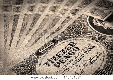 Old Hungarian ten thousand pengo money with stamp in sepia color