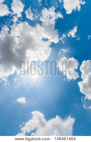 Afternoon blue sky clouds with sunlight true photography