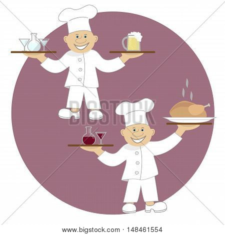Vector illustration two cooks or waiters. Food and drinks. Restaurant and pub servis.