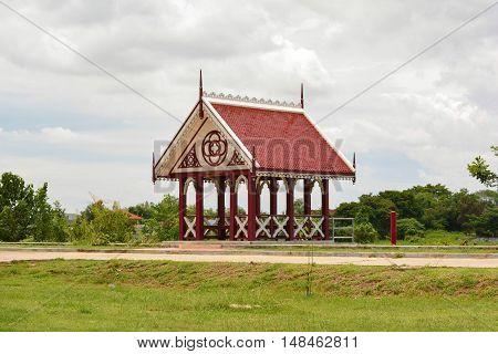 Vintage wooden pavilion in WAT NIWET THAMMA PRAVAT TEMPLE Ayutthaya Thailand.