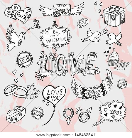 Valentines day hand drawn doodles symbols of love love messages design elements. Can be used for cards invitations print gift wrap manufacturing patterns. Romantic background