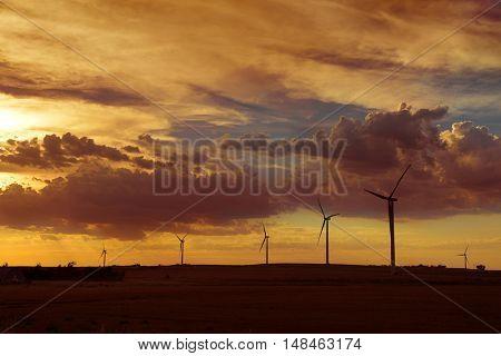 Wind turbines farm on the plains of Kansas