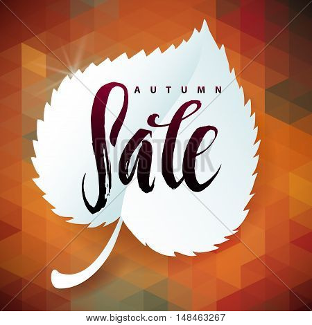 Triangle illustration Autumn Sale. Autumn Leaf and Polygon Background. Calligraphy Poster.