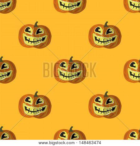 Halloween Smiling Pumpkin Seamless Pattern on Orange.