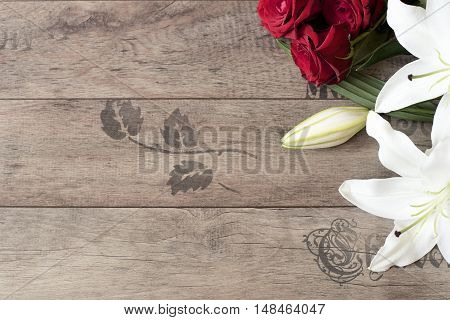 Floral Frame With Stunning White Lilies And Red Roses On Wooden Background. Copy Space. Wedding, Gif