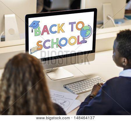 College Classmate Computer Focus Concept