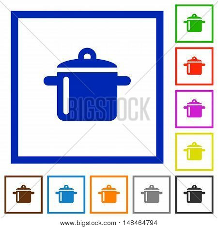 Set of color square framed cooking flat icons