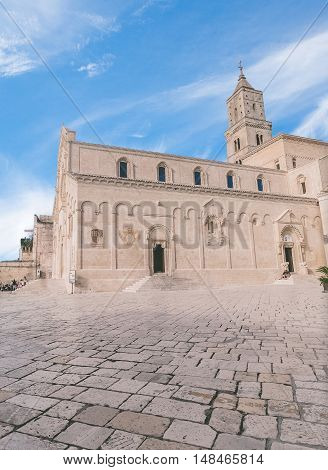 View Of Typical Of Church Of Matera, Cathedral Of Matera Under Blue Sky