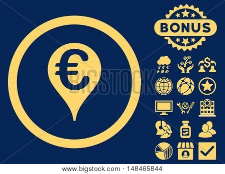 Euro Bank Map Pointer icon with bonus pictures. Vector illustration style is flat iconic symbols yellow color blue background.
