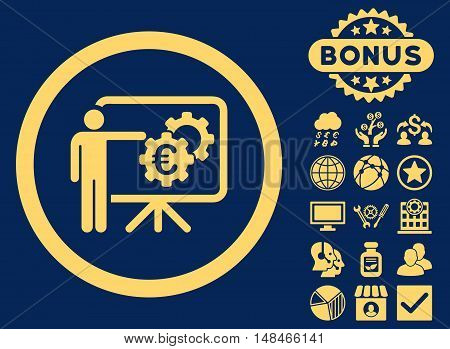 Euro Business Project Presentation icon with bonus pictogram. Vector illustration style is flat iconic symbols yellow color blue background.
