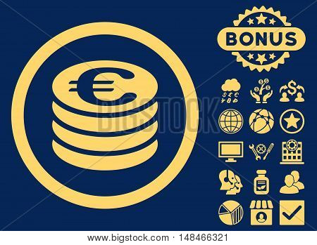 Euro Coin Column icon with bonus images. Vector illustration style is flat iconic symbols yellow color blue background.