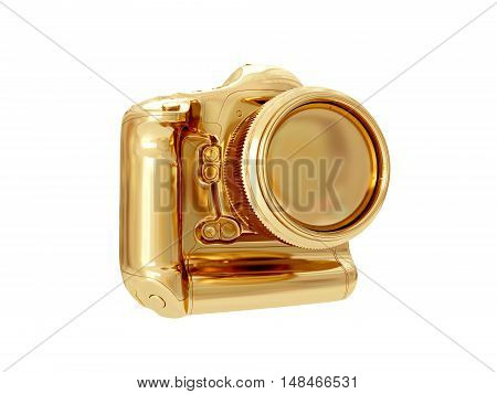 Golden camera isolated on white background. 3D rendering