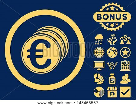 Euro Coins icon with bonus elements. Vector illustration style is flat iconic symbols yellow color blue background.